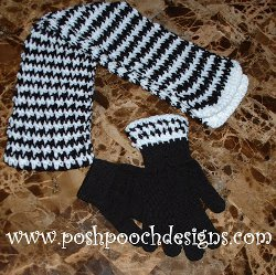 Houndstooth Scarf and Gloves