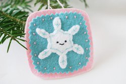 Stitched Smiling Snowflake Ornament