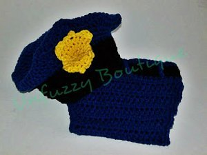 Police Hat and Diaper Set