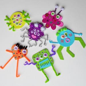 Glitter foam monsters for Glitter crafts for kids