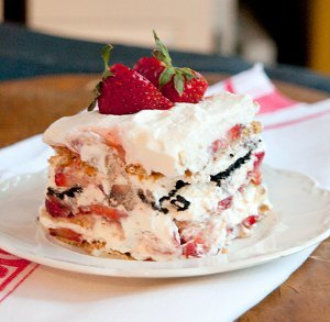 Vintage Strawberry Icebox Cake