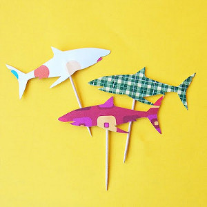 shark attach cupcake picks. Black Bedroom Furniture Sets. Home Design Ideas