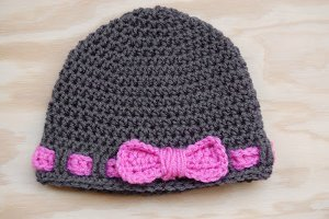 Belted Bow Baby Hat