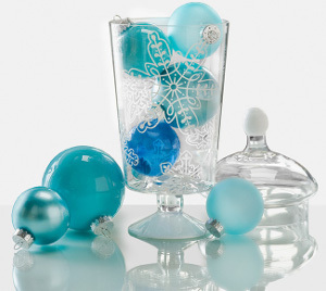 Snowflake Vase With Ornaments Centerpiece
