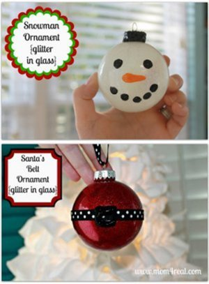 Glittered Snowman and Santa Ball Ornaments