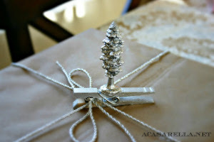 Silver Trees Clothespin Present Toppers