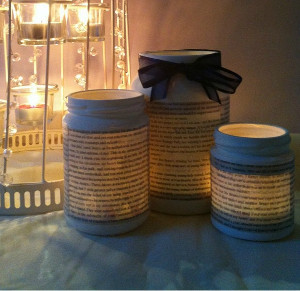 Literary Jam Jar Tea Lights