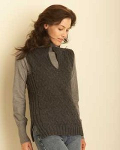 Knitting Patterns For Cable Jackets : Black Smoke Cable Knit Vest AllFreeKnitting.com