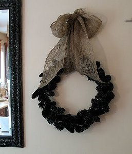 Beautiful Black Pinecone Wreath