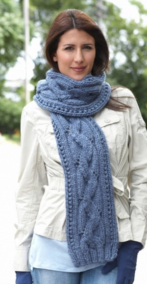 Basic Cable Scarf Allfreeknitting Com