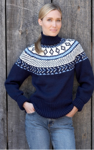 Free Baby Knitting Patterns For Blankets : Traditional Fair Isle Yoke Pullover AllFreeKnitting.com