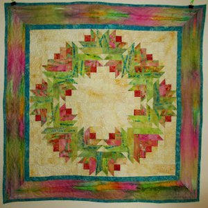 Summer Song Watercolor Flower Wreath Quilt Favequilts Com