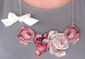 Rose and Ribbon Necklace