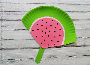 Too Cute Watermelon Paper Plate Fan