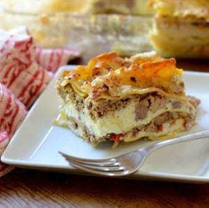 Three Meat Lasagna | AllFreeCasseroleRecipes.com