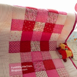 Pink Squares Patchwork Baby Quilt Allfreesewing Com