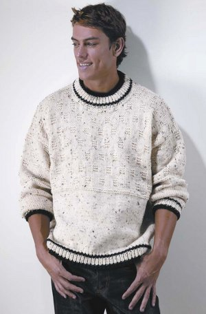 ede2ec10ef32b4 The Easy Crewneck Pullover is a timeless garment your man will love wearing  any day of the year. This simple yet stylish knit sweater pattern features  a ...