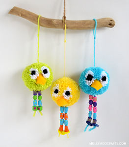 Beaded birdy pom pom crafts for Cute pom pom crafts