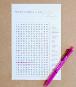 Free Word Search Bridal Shower Game