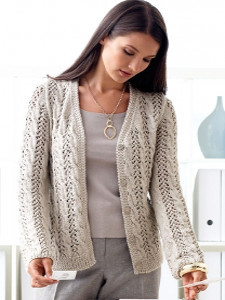 Lovely Lacy Cable Cardigan Allfreeknitting Com