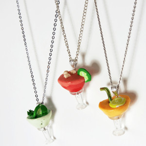 Playful Polymer Clay Cocktail Pendants