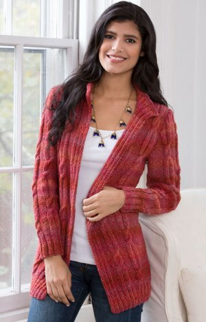 Free Knitting Pattern Sweater In The Round : Autumn Rose Cardigan AllFreeKnitting.com