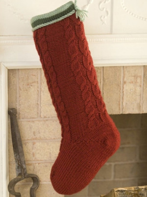 Cable Knit Christmas Stockings.Cabled Christmas Stocking Allfreeknitting Com