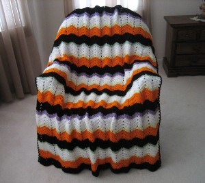 Halloween Striped Afghan