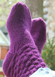 Pretty Plum Basket Weave Socks
