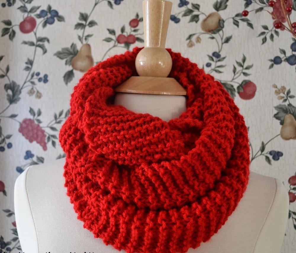 Basic Knit Infinity Scarf Allfreeknitting Com