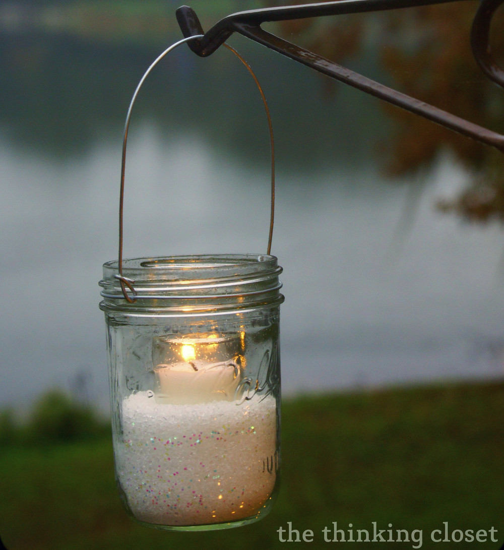 Shimmering Winter Mason Jar Lanterns