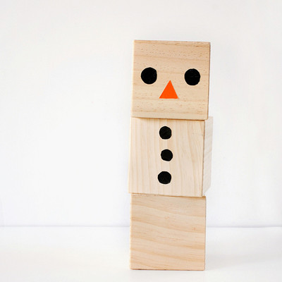 Simple wooden block snowman for Large wooden blocks for crafts