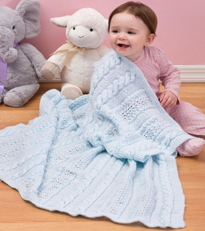 Baby Girl Blanket Knitting Patterns : Heavenly Baby Blanket AllFreeKnitting.com