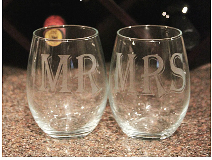 homemade etched wine glasses