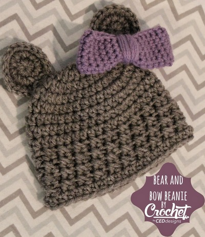 Free Crochet Patterns For Baby Girl Beanie : Belted Bow Baby Hat AllFreeCrochet.com