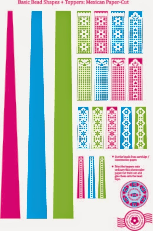 photo about Papel Picado Printable referred to as Papel Picado Printable Paper Beads