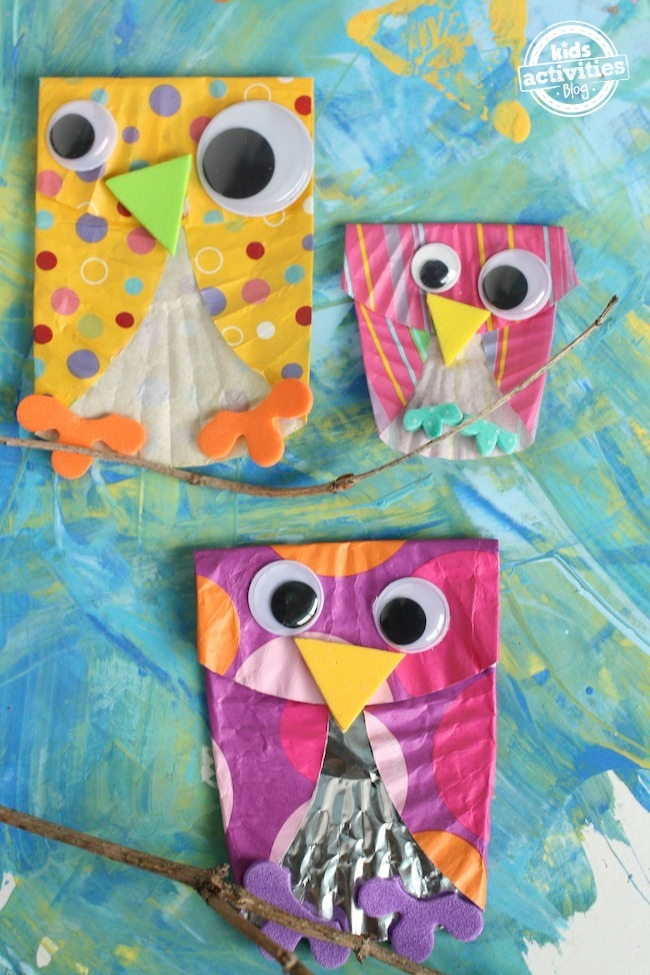 Easy cupcake liner owls for Owl fish store