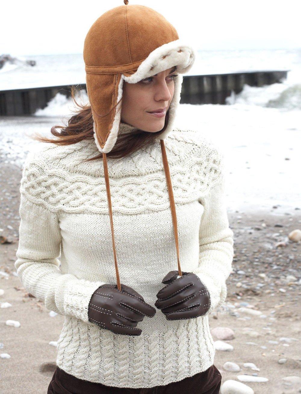Knitting Pattern Yoke Cardigan : Winter Wonder Cabled Yoke Sweater AllFreeKnitting.com