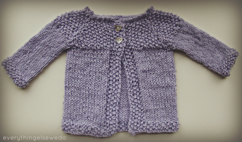 Free Knitting Patterns For Baby Sweaters Beginners : Little Lilac Baby Sweater AllFreeKnitting.com