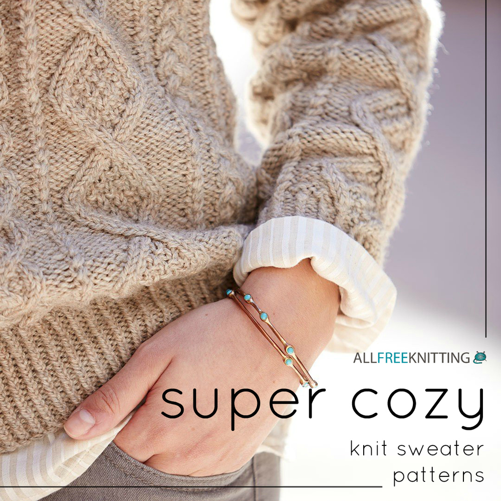 Super Chunky Jumper Knitting Pattern : 22 Super Cozy Knit Sweater Patterns AllFreeKnitting.com