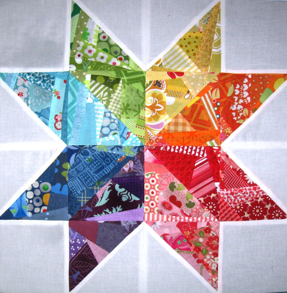 Scrappy Rainbow Star Quilt Block Favequilts Com