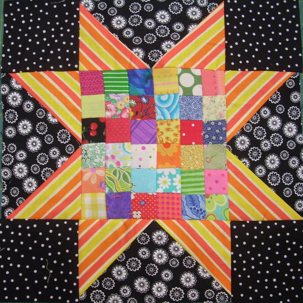 Scrappy Postage Stamp Star Quilt Block Favequilts Com