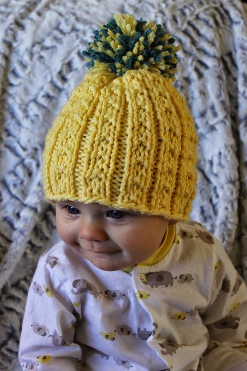 Beanie Hat Knitting Pattern For Kids : Kids Banana Beanie AllFreeKnitting.com