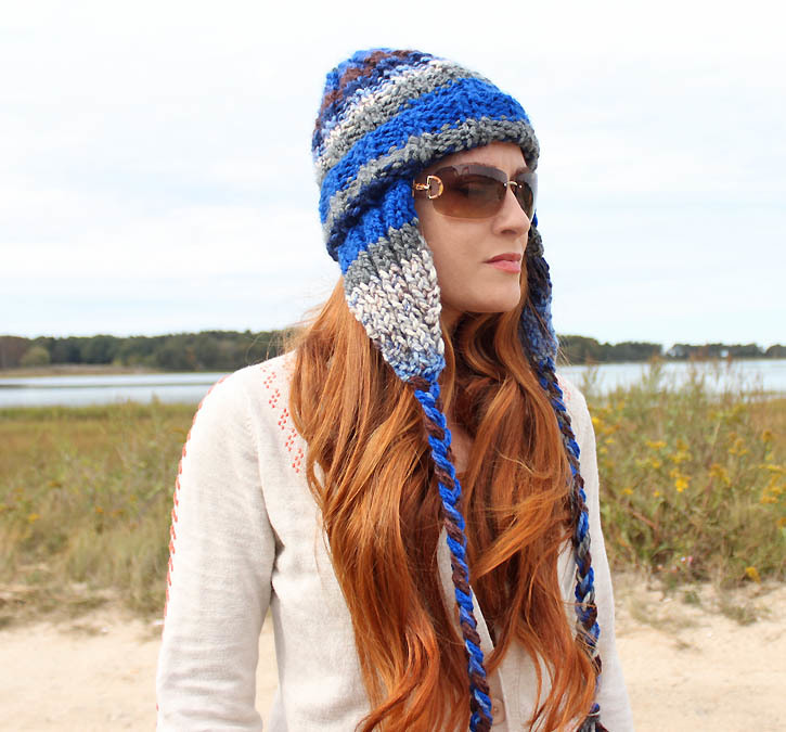 Striped Earflap Hat | AllFreeKnitting.com