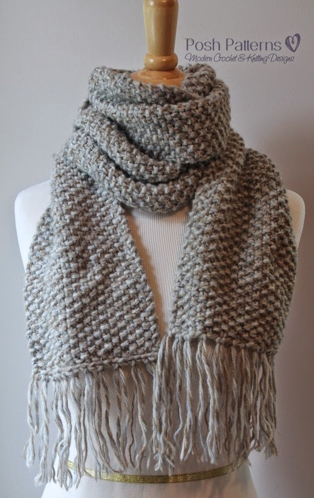 Two Colour Scarf Knitting Pattern : Elegant Seed Stitch Scarf AllFreeKnitting.com