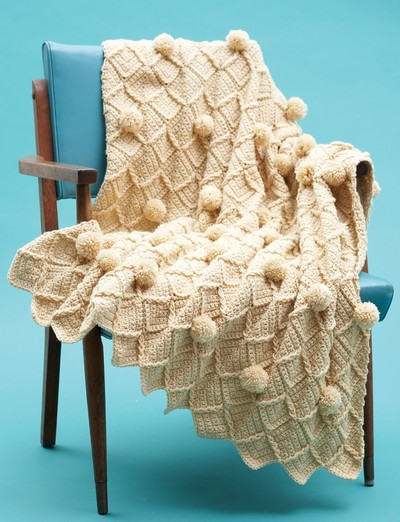 Lattice Pom Pom Crochet Blanket