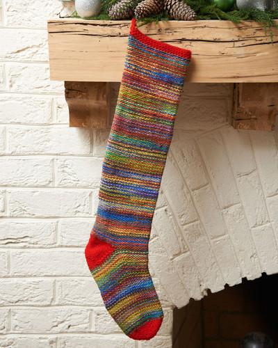 Christmas Stocking Knitting Pattern Straight Needles : Colorful keepsake stocking allfreeknitting