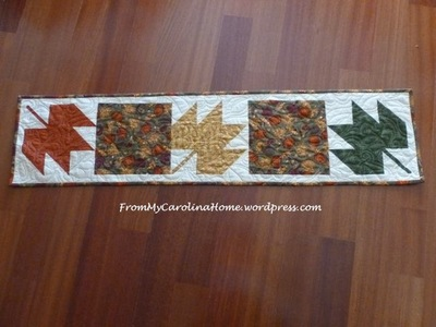 Maple Leaf Quilt Pattern Table Runner : Three Maple Leaves Table Runner FaveQuilts.com