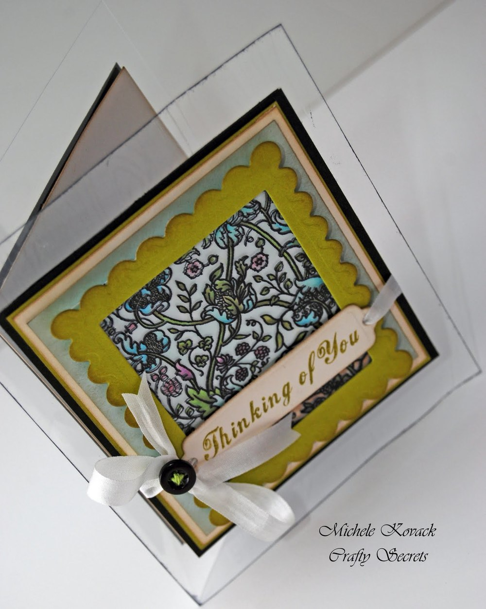 Transparent stained glass greeting card