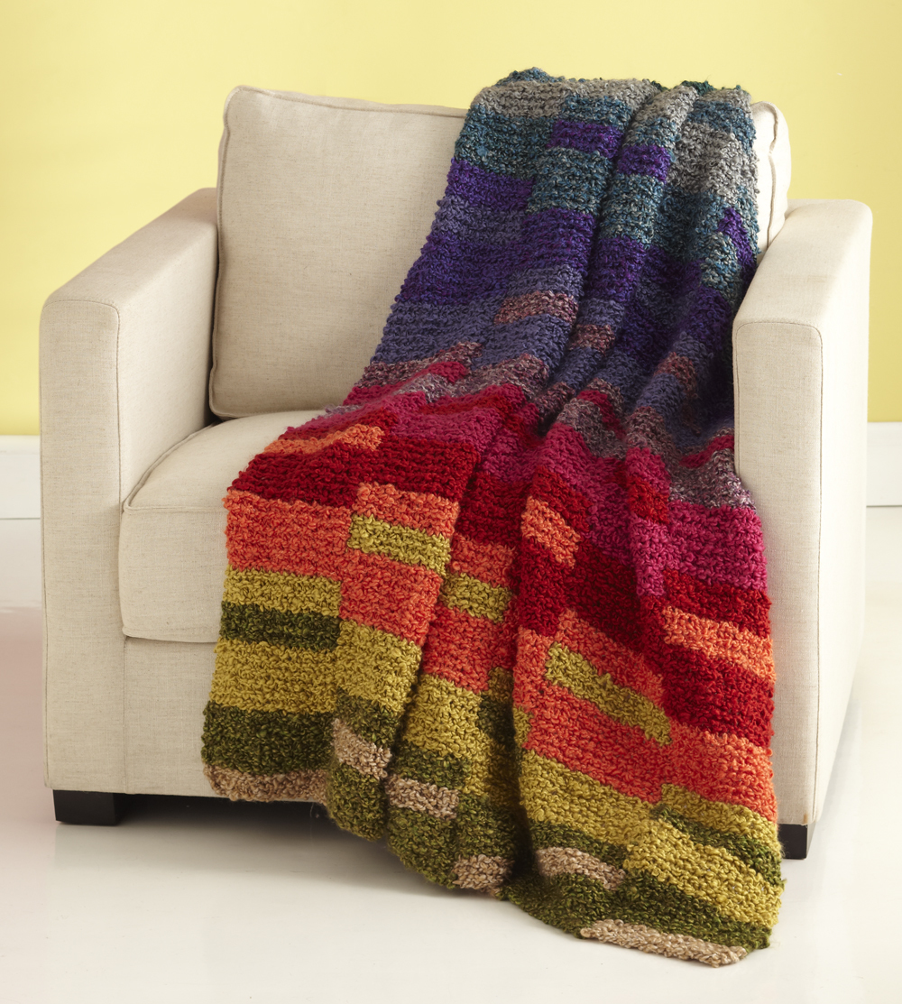 Knitting Pattern Afghan Beginner : Light Spectrum Afghan AllFreeKnitting.com